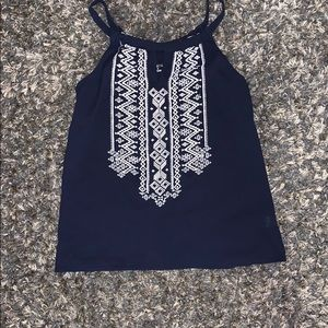 Navy and White Tank